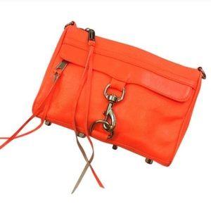 REBECCA MINKOFF Mini Mac Orange Leather Clutch